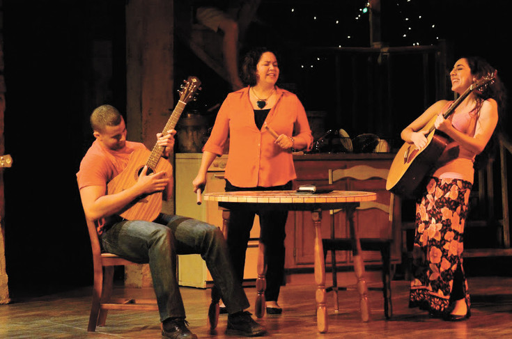 "Thony Mena (Elliot), Geree Hinshaw (Yaz) and Merhy Eslamina (Shar) act and sing in ""The Happiest Song Plays Last"" at Curious Theatre in Denver's Golden Triangle through Feb. 18."