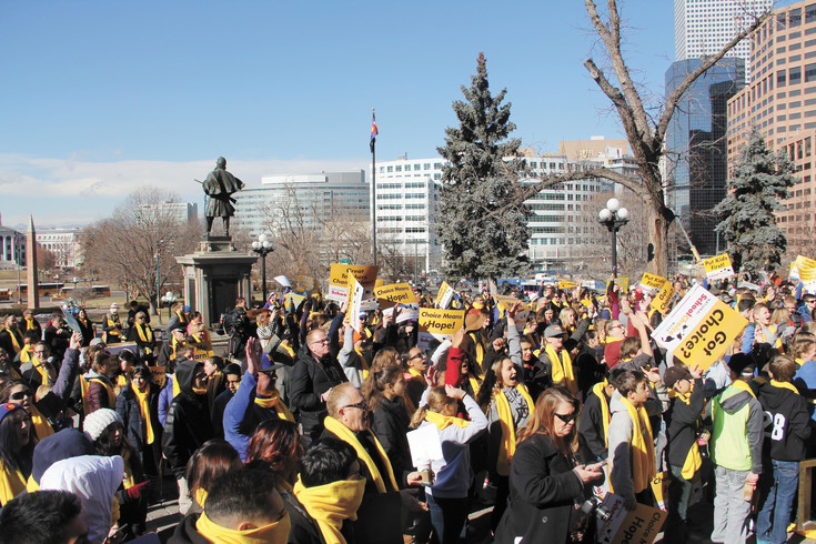 Supporters of school choice gather at the steps of the capital in Denver Jan.26 as part of National School Choice week.