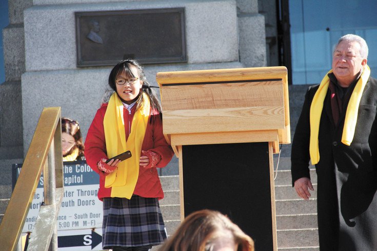 Jordan Smith, a fifth-grade student at Golden View Classical Academy in Golden, spoke to the crowd about why she loves her school.