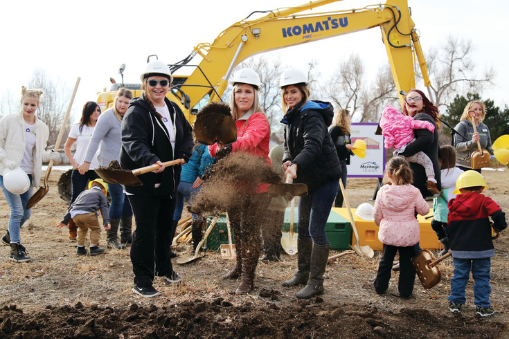 Hope House teen moms Carley McCormick, Cierra Timmons and Jacqueline Chavez take part on the Saturday morning groundbreaking.