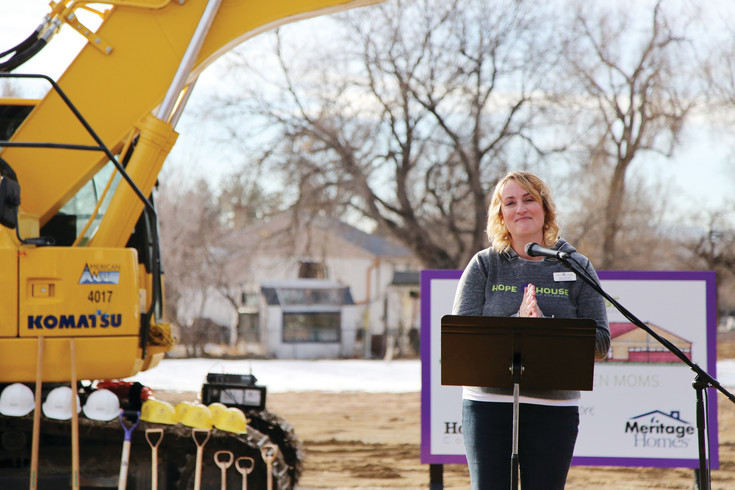 Lisa Steven, founder and executive director of Hope House, thanks the crowd for attending the non-profit's ground breaking for its new resource center Saturday,  Jan. 28.