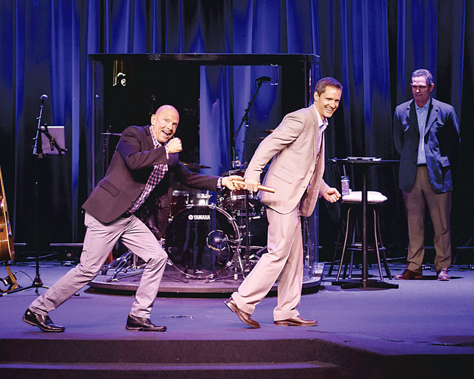 "Pastor JR Polhemus passed the baton to son, Mike Polhemus, who took over as senior pastor of The Rock church in Castle Rock on Jan. 29.  ""You're walking through life with people,"" the new senior pastor said of his job duties.Courtesy Photo ​"