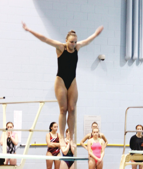 Lexie Barker, a former gymnast and senior at Douglas County High School, won the state diving title at the Class 5A Swimming Championships on Feb. 10 at the Veterans Memorial Aquatics Center in Thornton.