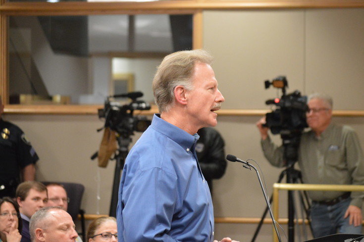 Westminster resident Joe Janecky urges councilors not to change the city's current trash hauling arrangement  Monday night at the Westminster City Council meeting. Janecky said that deciding who collects his trash should be his decision and not the city's