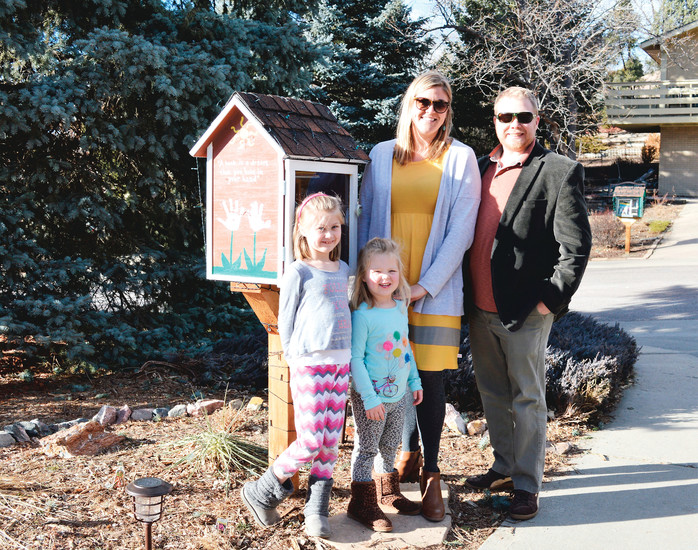 Todd Walsh, his wife, Kristi, and their two daughters, Maya and Nora, created two Little Free Libraries for their Lakewood community. Todd frequently gets requests to build Little Free Libraries from neighbors and the school where he teaches.