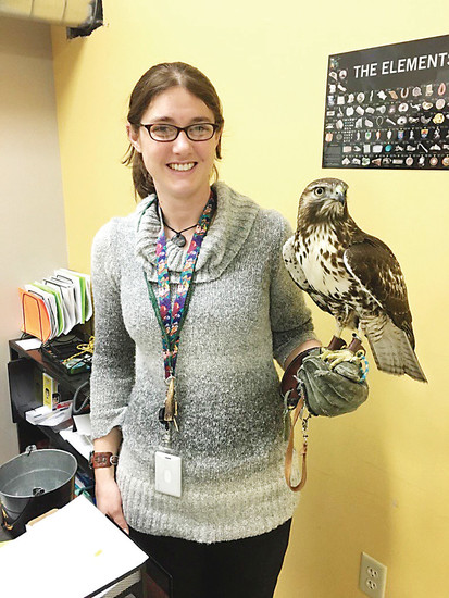 Jennifer Cambell-Smith, eighth grade physical science teacher at STEM School and Academy and licensed falconer. Courtesy photo