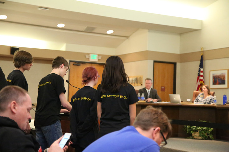 More than 50 student from the Gifted and Talented Center at Wheat Ridge High School addressed the board about the importance of their program.