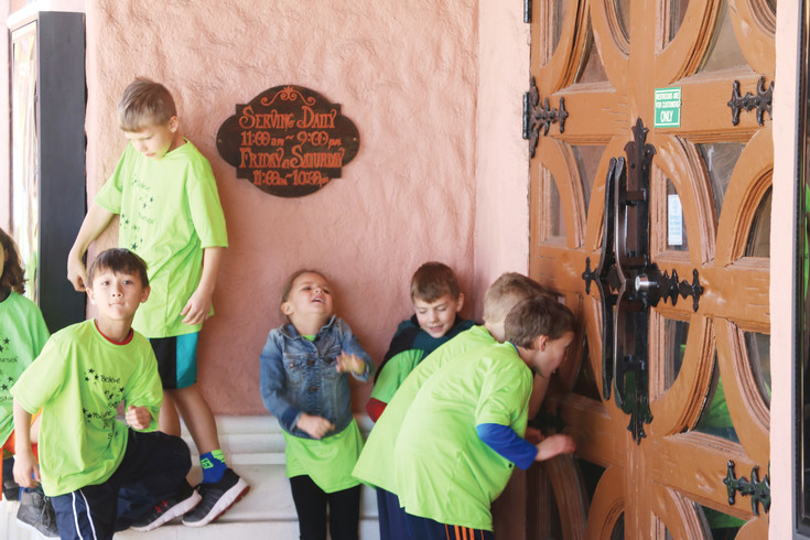 Campers from the St. Vrain Valley school district eagerly await the opening of Casa Bonita on Feb. 17.