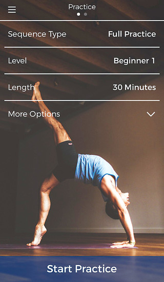 The Down Dog app guides users through a yoga practice with video and sound. The free app, available for IOS and Android, lets a user customize his or her skill level and preferred duration.