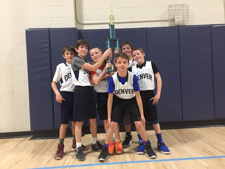 Team Denver is shown with the High Line Competitive League Championship trophy for fourth-graders.