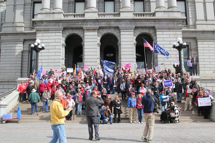 Those attending a pro-Trump rally on Feb.27 gathered on the Capitol steps afterward for a group photo.