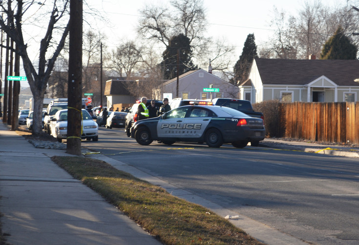 Englewood police secure the area of a home that was the scene of a standoff the afternoon of March 3. Photo by Kyle Harding