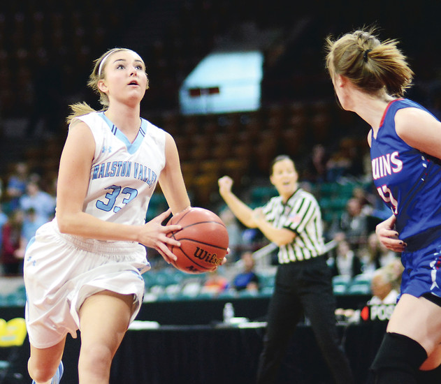Ralston Valley senior Sarah Bevington drives to the basket March 3 at the Denver Coliseum. Bevington had a team-high 14 points, but it wasn't enough as the Mustangs lost to Cherry Creek 56-39 in the Class 5A state quarterfinal.