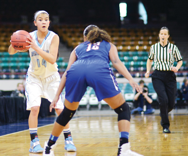 Ralston Valley senior Chloe Gillach (14), scans the court at the Denver Coliseum while being guarded by Cherry Creek junior Kiana Walker on March 3. The Mustangs had their 24-game winning streak snapped with a 56-39 season-ending loss.
