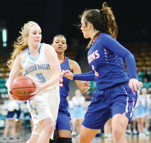 Ralston Valley senior Ashley Van Sickle, left, drives toward the basket during the Mustangs' Class 5A state quarterfinal game against Cherry Creek on March 3. Ralston Valley suffered a 56-39 season-ending loss.
