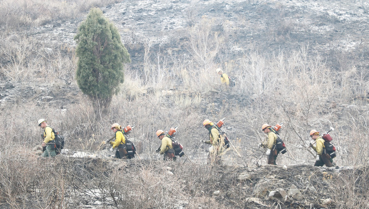 Fire crews hiking up the steep northern slopes of South Table Mountain on March 10. The crew worked on cutting a fire line around the burn area, to prevent the fire from flaring up again and burning additional acreage.