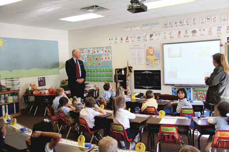 Congressman Ken Buck visits the Parker Core Knowlege charter school during National School Choice Week in January. Buck — whose 4th Congressional District includes Castle Rock, Lone Tree and Parker — is a strong supporter of charter schools.