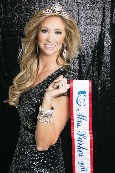 Mrs. Parker, Stacey James, poses with her crown and sash last October. James was selected as Mrs. Parker in June last year and will compete at the Mrs. Colorado pageant on April 8.