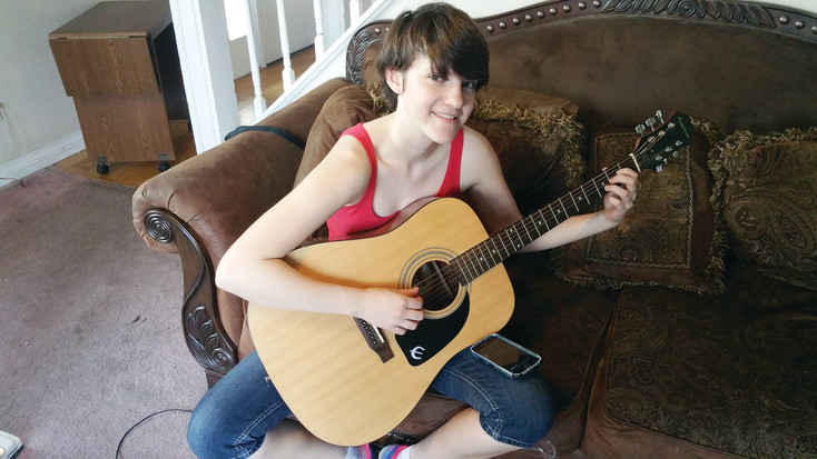 "Standley Lake Junior Anna Cooley is hopeful her musical composition ""Bayernwald"" fares well at a statewide musical competition. Cooley composed the piece using guitar, bass guitar and trumpet."