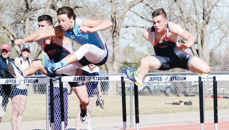 Ralston Valley senior Tyler Shannon, left, and Pomona junior Ryan Marquez, right, are two of the top hurdlers in Class 5A this spring. Shannon edged out Marquez in the 110-meter hurdles at the Arvada City Championships on March 18 at Jeffco Stadium. Marquez did win the 300 hurdles event.