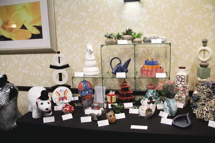 A table of sculptures at the 2017 Douglas County School District Art Show at the Hilton Garden Inn in Highlands Ranch.