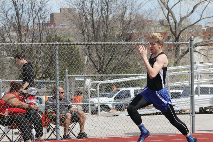 Englewood's Sam Westra pushes the pace as leads the field in the boys 400-meter run during the April 8 Windjammer Invitational Track Meet. Westra won the event with a time of 55.6 seconds helping the Pirates take top honors in the team standings.