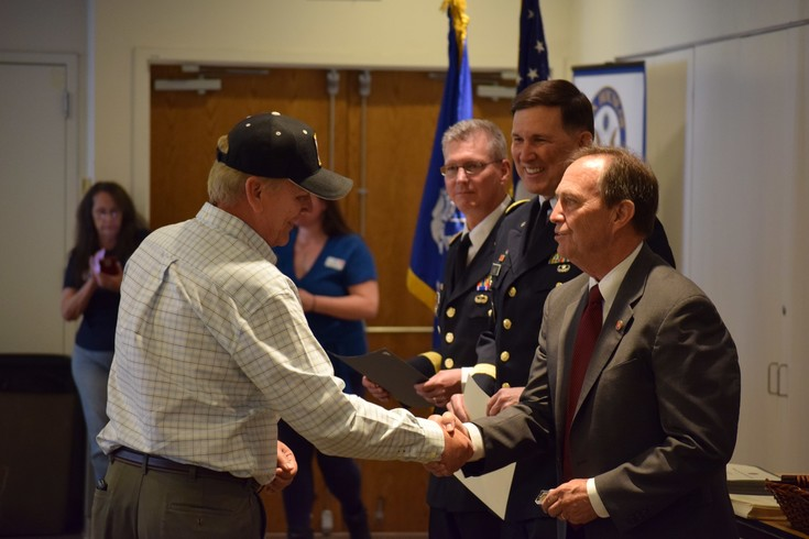 U.S. Rep. Ed Perlmutter, D-7th District, right, shakes Kenneth Daniels' hand on April 7 at a ceremony honoring Vietnam veterans. The ceremony is the second of eight ceremonies. The next one will take place 9:30-11:30 a.m. April 12 at Red Rocks Community College, 13300 W. 6th Ave. in Lakewood. The other dates, with time and locations to be announced, are as follows: June 1, July 6 and 21, and Aug. 3 and 17. All ceremonies will be open to the public. For more information, times and dates of upcoming ceremonies, or to request to take part, go to U.S. Rep. Ed Perlmutter's website at http://perlmutter.house.gov/.