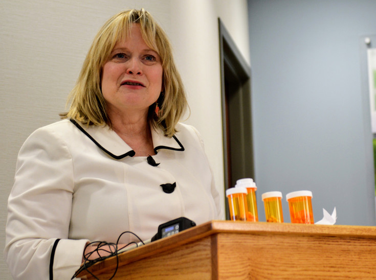Colorado Attorney General Cynthia Coffman talks about the importance of having safe, convenient places to dispose of old prescription medicine April 12 at the Walgreens Pharmacy at 120th and Colorado Boulevard. The pharmacy is one of 11 Colorado Walgreens – and one 73 other locations – to get medicine disposal kiosks. Photo by Scott Taylor