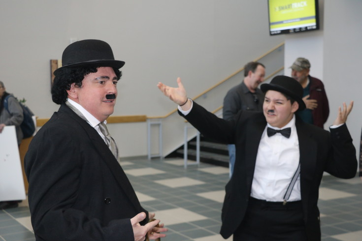 The Great Dictator. Charlie Chaplin sees double at Red Rocks Community College's World War I day on April 6.