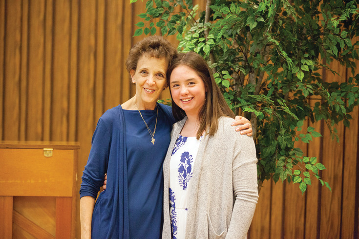 Honoree teacher Jill Rickard of Heritage High School poses with student Katherine Harston during the 2016 Teacher Appreciation Dinner sponsored by the Littleton Stake of the Church of Jesus Christ of Latter-day Saints on April 12.