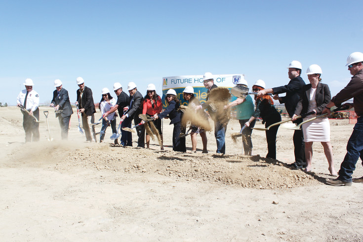 City officials throw off the first spades of dirt to kick off work on Northglenn's new $23 million justice center. City officials gathered at the city for the official groundbreaking on April 14. Construction is scheduled to wrap up in 2018.