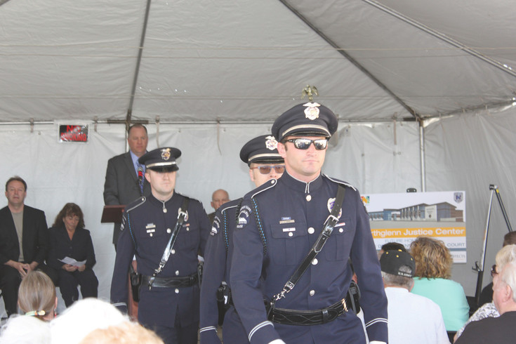 The Northglenn Police Honor Guard lead the procession in as the city kicks off construction on its new $23 million justice center. City officials gathered at the city for the official groundbreaking on April 14. Construction is scheduled to wrap up in 2018.