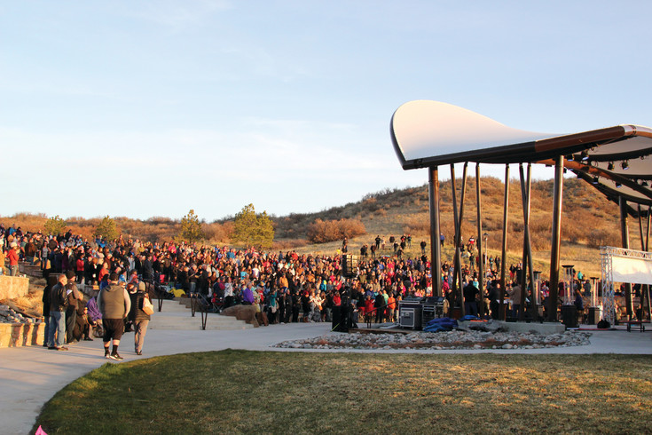 Crowds gathered at the Philip S. Miller Park amphitheater for a sunrise Easter morning service.