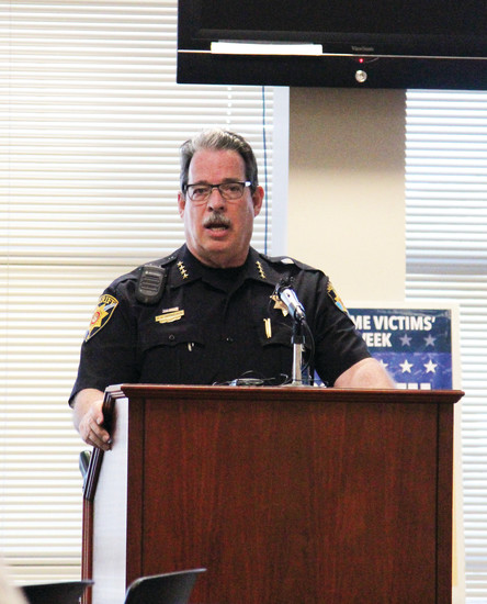 Douglas County Sheriff Tony Spurlock speaks about the strengh of victims of crime on April 6.