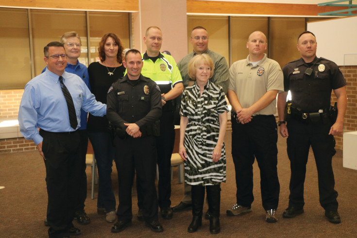 Arvada Police, Diane Eckert, Wes Cook and Julie Kautz gathered at the Arvada Police Headquarters on April 11 in honor of Donate Life Month.