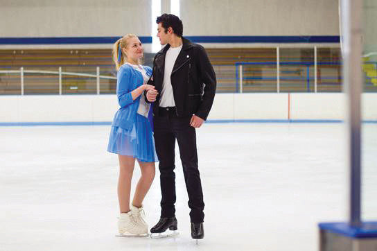 "Janie Ochitwa and Daniel Arsenault, who play Sandy and Danny in ""Grease,"" pose as their characters during a rehearsal for the upcoming Showtime on Ice in Centennial."