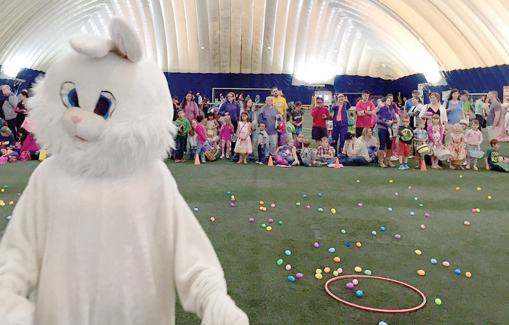 The Easter Bunny helped kids find their Easter eggs this year at South Suburban's free egg hunt at the Sports Dome in Centennial.