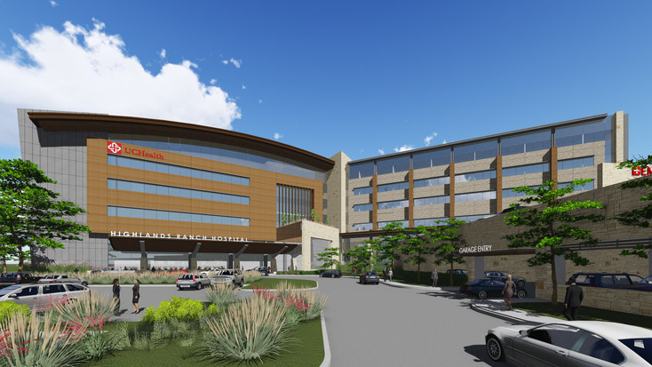 This artist's rendering shows the new hospital expected to be completed in 2019 at Central Park in Highlands Ranch.