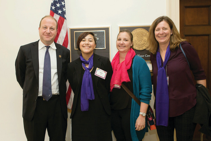 Rep. Jared Polis of Colorado's 2nd Congressional District greets Parker's Grace Garcia, her mother Laurie Garcia, second from right, and Lisa Marie Maxson, a board member of the Epilepsy Foundation of Colorado. Garcia said many of the congressional aides she spoke to had little understanding of epilepsy, and she was glad for the opportunity to inform them.