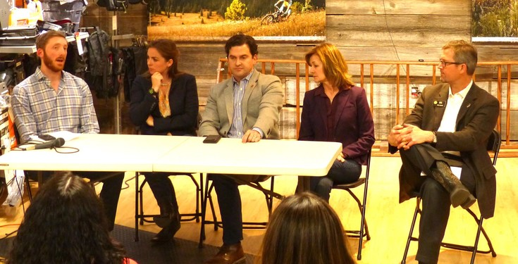 "The panel at the April 11 panel, entitled ""Celebrating Colorado Outdoor Recreation."""