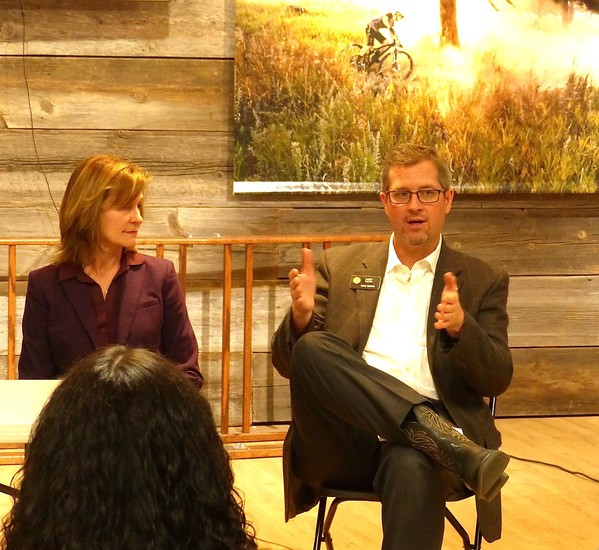 "Ritter and Kerr talk at the April 11 panel, entitled ""Celebrating Colorado Outdoor Recreation."""