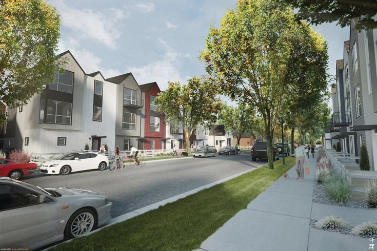 An artist's rendering of Depew Street, after the West Line Village town home project is complete.