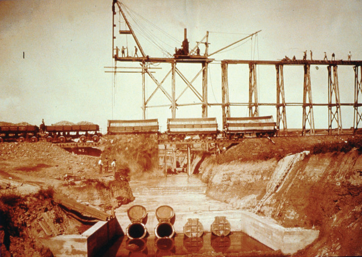 Crews work to build a channel to guide water for Westminster residents and farms in this historic photograph. Water and its role in shaping the city are explored in a new display at the Westminster Historical Society.