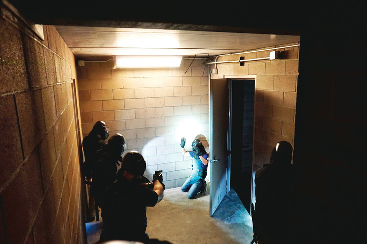 Four Thornton police cadets find a citizen hiding in an abandoned building during a scenario training exercise the week before graduation.