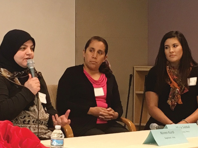 A panel at the May 4 Immigrant Pathways Colorado discussed their stories related to coming to Colorado and becoming citizens: Nisren Kurdi from Baghdad, Iraq;,Mary Siddall from Lima, Peru; and Dee Diaz from Maracaibo, Venezuela, were led in discussion by Connie Shoemaker.