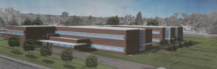 An artist conception of the new Charles Hay World School one of the displays at the May 11 groundbreaking ceremonies for construction of the building that is scheduled to start at the end of May.