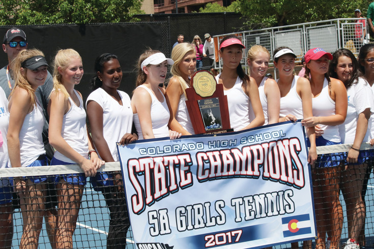 Cherry Creek players pose their trophy after winning the Class 5A Girls Tennis Team Championship. The Bruins scored the points to win the title in the matches for first and third places on the final day of the May 11-13 tournament.
