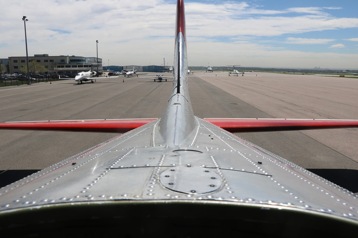 A view of the tail of the Madras Maiden B-17 bomber from the center of the plane.