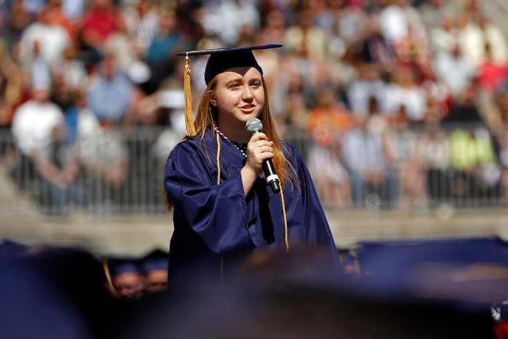 Chaparral High School graduate Kaelynn Kenny addresses her classmates and spectators at the school's graduation ceremony on May 17 at EchoPark Automotive Stadium. Kenny said in her speech that she'll miss inside jokes with her friends but she's grateful for learning French and how to make origami frogs.