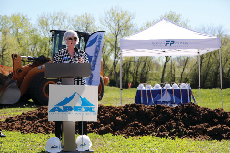 Lauri Dannemiller, executive director of the Apex Park and Recreation District, recognized area partners and voters in getting this project started.